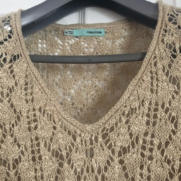 Maurices Sweaters - Beige Knit V-neck Pullover
